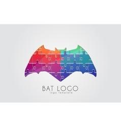 Bat logo Color bat Creative logo design Puzzle vector image vector image