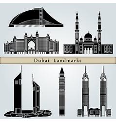 Dubai landmarks and monuments vector