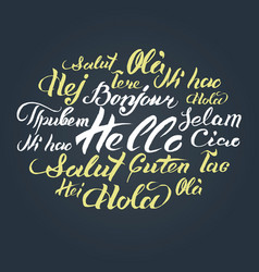 hand lettering text hello written on vector image