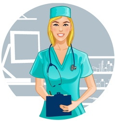 Nurse with stethoscope writes notes vector image vector image