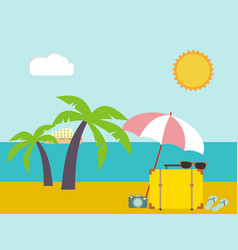 tropical landscape sea shore beach with palm vector image