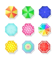 Beach set of sun umbrellas top view Summer vector image vector image