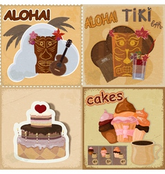 food and Hawaiian masks vector image vector image