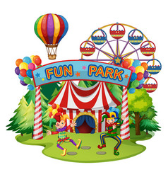 funpark scene with clowns and rides vector image vector image