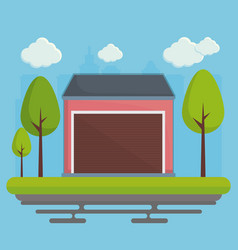 garage and trees icon vector image