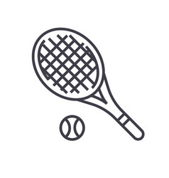 tennis racket flat line concept vector image vector image