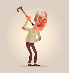 angry old man character vector image vector image