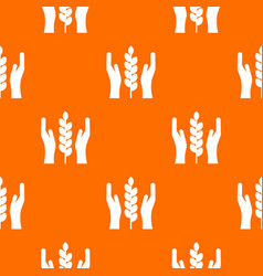 hands and ear of wheat pattern seamless vector image