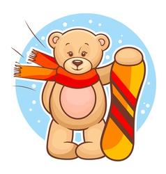 teddy bear with snowboard vector image vector image