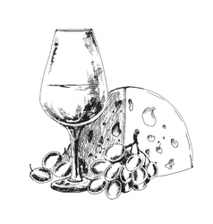 Wine glass with cheese and grapes vector image