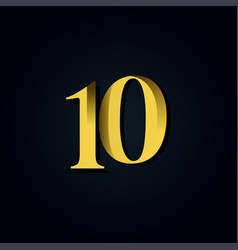 10 years anniversary gold number template design vector