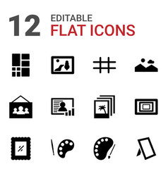 12 gallery icons vector