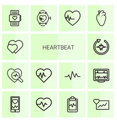 14 heartbeat icons vector