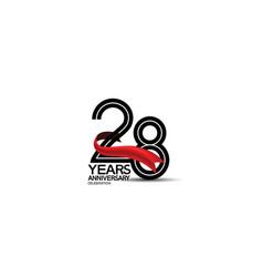 28 years anniversary logotype flat black color vector