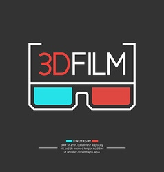 3D filme logo with glasses vector