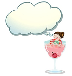 A happy little girl above wine glass vector