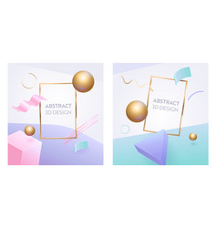 abstract geometric figure frame 3d banner set vector image