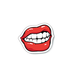 Ajar grinning female mouth with red makeup cartoon vector