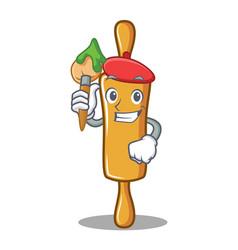 artist rolling pin character cartoon vector image