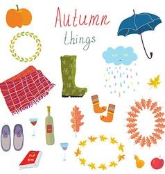 Autumn icons set funny design vector image