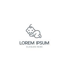 Baby child outline branding logo design vector