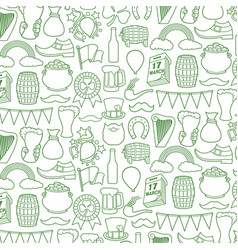 backgroundwith saint patrick day line icons vector image