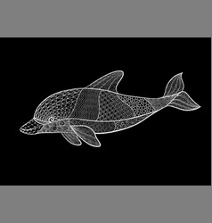 beautiful monochrome black and white dolphin with vector image
