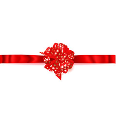 big horizontal bow made of ribbon with small vector image