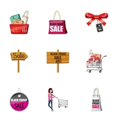 Big sale icons set cartoon style vector