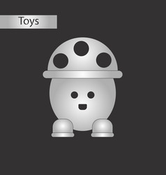 black and white style toy mushroom vector image
