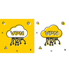 Black cloud vpn interface icon isolated on yellow vector