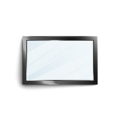 Black rectangle mirror frame with shiny glass vector