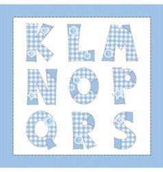 Blue fabric alphabet Letters K L M N O P Q R S vector