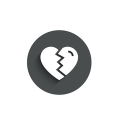 Break up love simple icon divorce sign vector