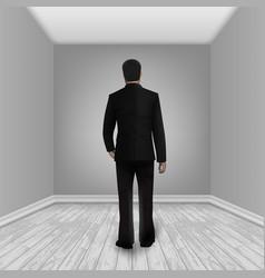 businessman in empty room with laminate floor vector image