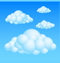 Cartoon bubble clouds on white background for vector