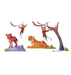 Cartoon wild animals tiger monleys and hyena set vector