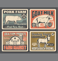 Cattle farm meat and milk market products posters vector