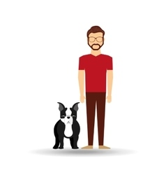 character man bearded pet french bulldog graphic vector image