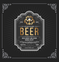 Classic vintage frame for beer labels banner vector