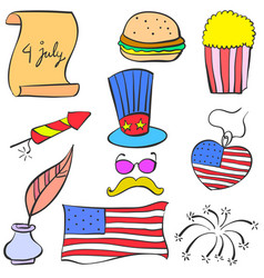 Collection element memorial day style doodles vector