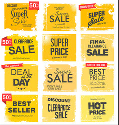 collection yellow grunge retro sale background vector image