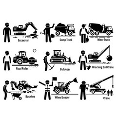 Construction vehicles transportation and worker vector