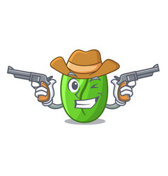 Cowboy character green coffee beans in market vector