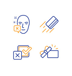 Credit card face declined and checkbox icons set vector