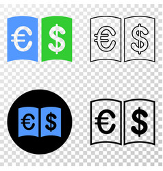 Currency handbook eps icon with contour vector