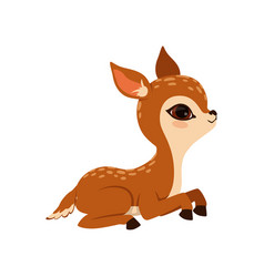 Cute little fawn character lying vector