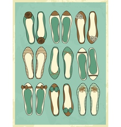 Cute retro style ballerinas shoes vector