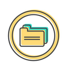 Data sorting icon with document folder sign vector
