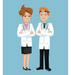 doctor woman and man hospital workers vector image